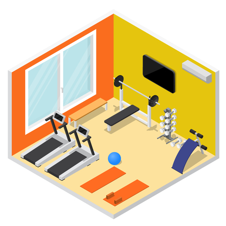 Interior Gym with Exercise Equipment Isometric View. Vector