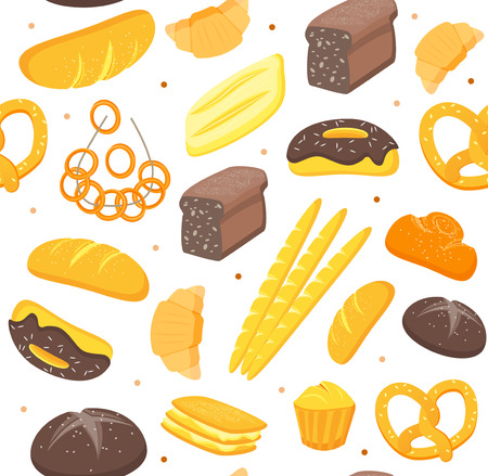 Cartoon Color Bakery Background Pattern. Vector