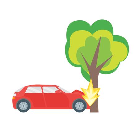 Cartoon car crash road accident. Illustration