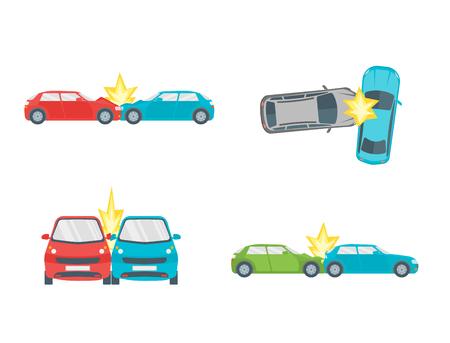 漫画車クラッシュ道路事故セット。