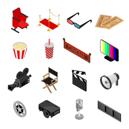 Cinema Color Icons Set Isometric View. Vector