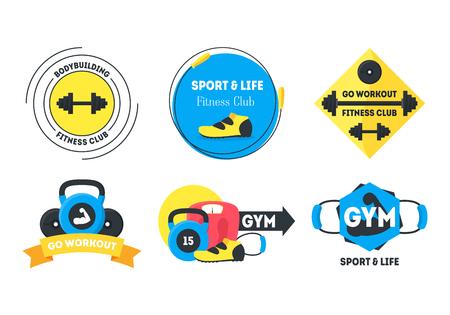 Cartoon Fitness Badges or Labels Set. Vector Illustration