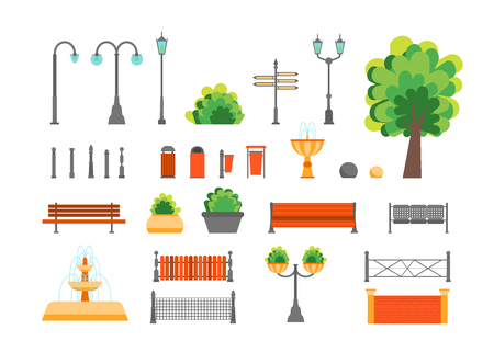 outdoor advertising construction: Cartoon Color Urban Park Elements Set. Vector Illustration