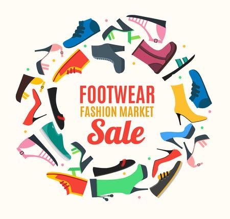 Flat Color Woman Shoes Banner Card. Vector Illusztráció