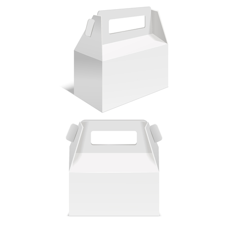 Realistic Template Blank White Paper Folding Box. Vector