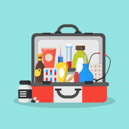 First Aid Kit Box or Suitcase. Vector Illustration