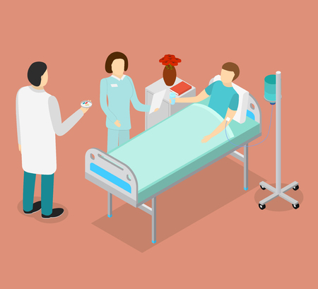 Patient in Bed and Doctor or Medical Staff Isometric View. Vector Illustration