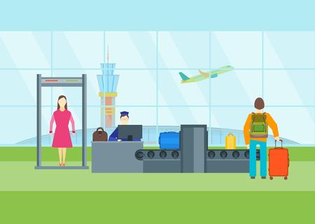 Cartoon Airport Waiting Security Control. Vector