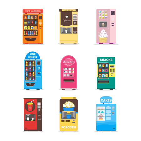 Cartoon Vending Machine Set. Vector