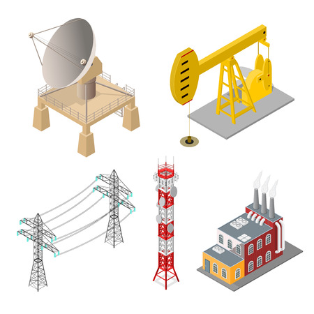 Industrial Objects Set - Factory Building, Tower Mobile Phone, Satellite Dish Antenna or Radar, High Voltage Power Pylon and Oil Pump Energy Isometric View for Web, App and Game . Vector illustration