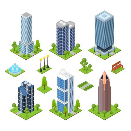 Skyscraper Building Set Isometric View Part of the Map with Urban Modern Architecture for Web and Game. Vector illustration