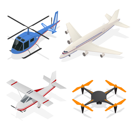 Air Crafts Set Isometric View - Jet Airplane, Helicopter Passenger Transport and Air Drone Quadrocopter. Vector illustration