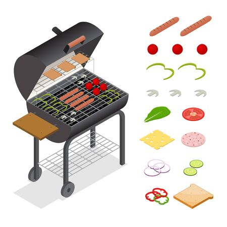 Barbecue Isometric View Charcoal Kettle Grill and Products Set. Summer Food for Picnic, Weekend For Web. Vector illustration