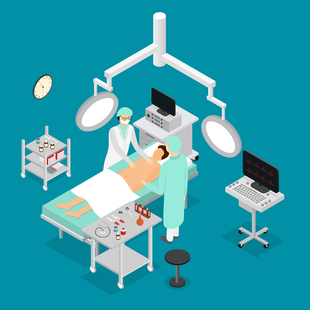 Patient and Doctor Surgery Operating Isometric View. Vector