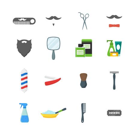 Ensemble d'icônes de couleurs symboles Cartoon Barbershop Shop. Vecteur Vecteurs