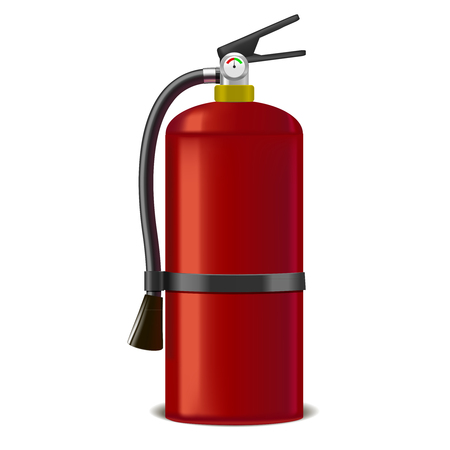 Realistic Detailed Red Extinguisher or Quencher. Vector