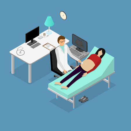 Pregnancy Woman and Doctor with Ultrasound Appointment Isometric View. Vector