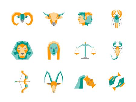 capricornio: Conjunto de iconos de dibujos animados símbolo del zodíaco. Vector Vectores