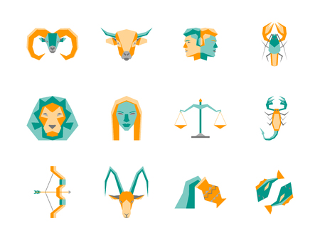 Cartoon Zodiac Symbol Color Icons Set. Vector
