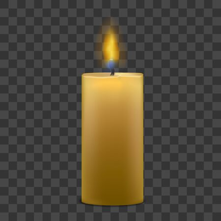 Big Candle with Fire Set on Transparent Background. Vector Çizim