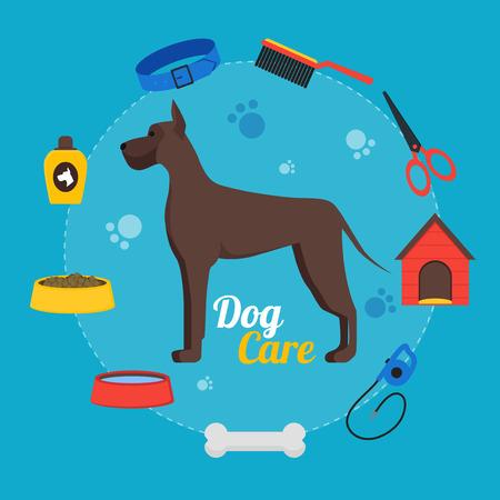 Cartoon Dog Care Concept. Vector