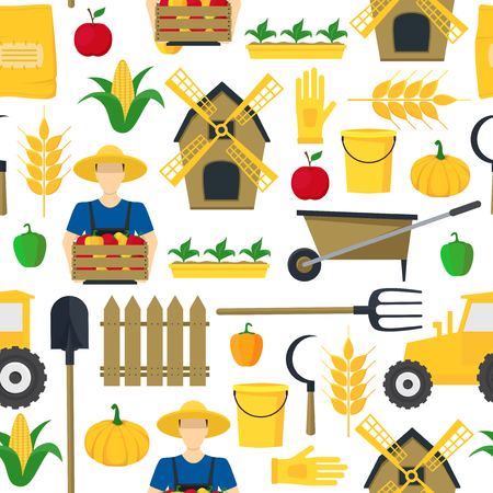 Farmer Background Pattern Farming Elements and Equipment. Vector