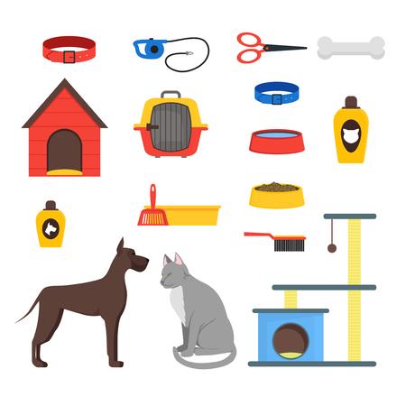 Cartoon Domestic Pets Care Set. Vector Illustration