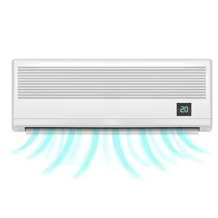 Climatiseur détaillé réaliste isolé sur fond blanc Symbole de confort. Contrôle de la température pour la maison Vector illustration Banque d'images - 76256579