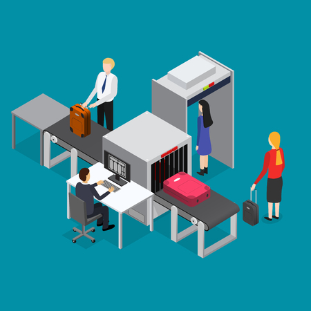 Airport Waiting Security Control Isometric View Interior of Terminal with Passenger Inspection on a Blue. Vector illustration