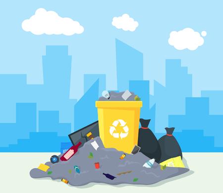Mülldeponie oder Mülldeponie. Vektor.