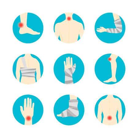 Human Injuries Set Bandage and Center Pain. Vector Illustration
