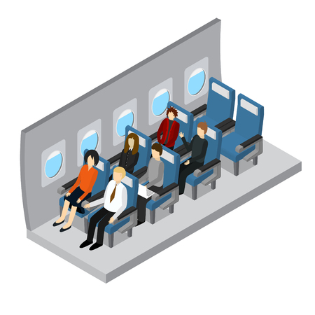 Vliegtuigen interieur isometrische weergave. Stock Illustratie
