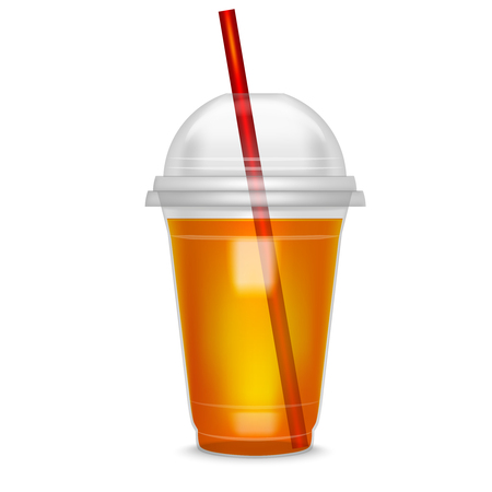Realistic Detailed Cocktail Plastic Cup witch Straw. Illustration