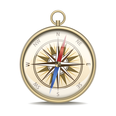 Realistic Detailed Compass with Windrose.