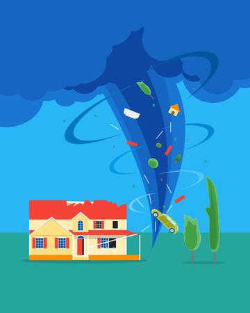漫画竜巻やハリケーンは、家を破壊します。ベクトル