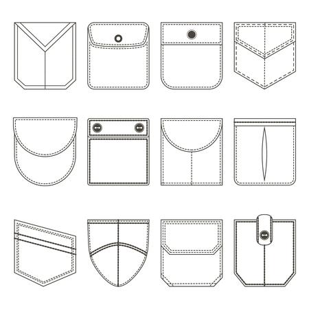 Pocket Thin Line Black Icon Set. Vector