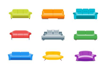 Cartoon Sofa of Divan Color Icons Set. Vector
