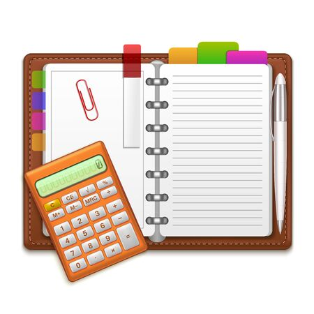 open notebook: Realistic Organizer Notebook, Color Stickers and Calculator. Vector