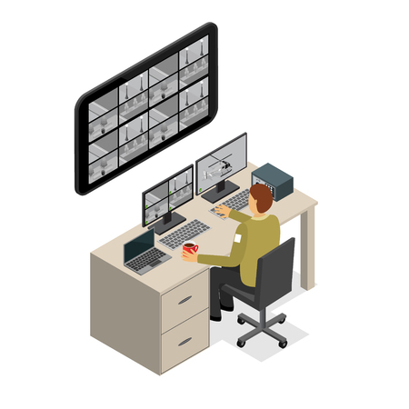 Security Guard Monitoring Service Isometric View. Vector