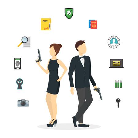 gun control: Cartoon Spy Couple and Icons Set. Vector