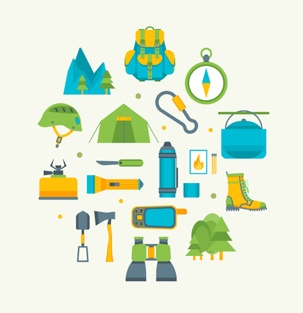 Cartoon Traveling Camping and Hiking Round Design Template Icons Set. Vector