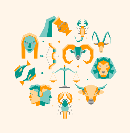 Cartoon Zodiac Symbol Round Design Template Icons Set. Vector Illustration