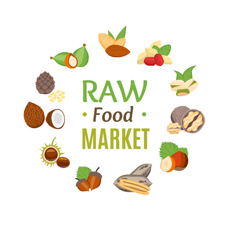 Raw Food Market Round Design Template witch Nuts Icons. Vector
