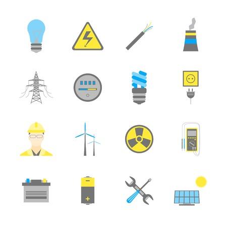 Cartoon Electricity Power Generation Icons Color Set.