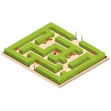 グリーン迷路庭園等角投影ビュー。  イラスト・ベクター素材