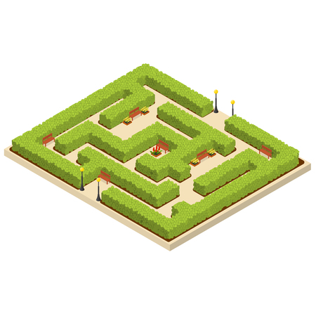 Green Labyrinth Garden Isometric View.