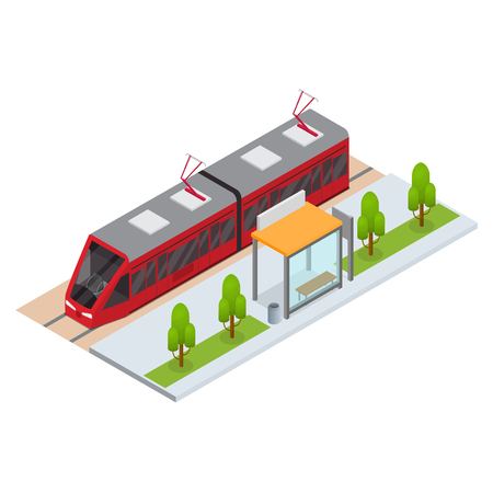 Tram and Stop Station Isometric View Illustration