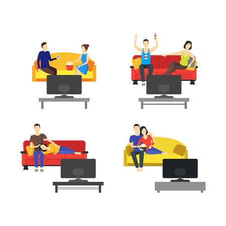Cartoon Romantic Couple Watching TV Set. Vector