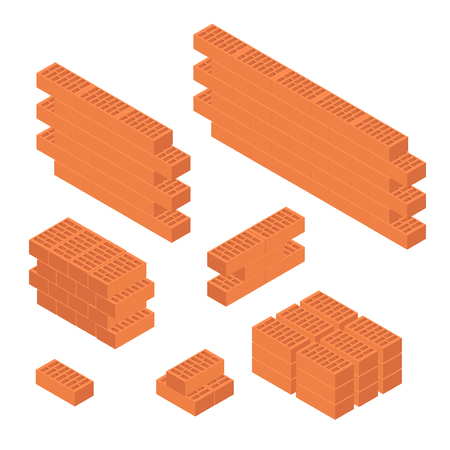 concrete block: Brick Set and Wall Isometric View. Vector