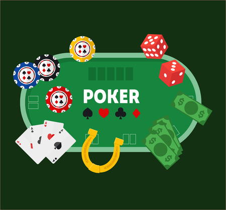 Green Poker Table. Vector
